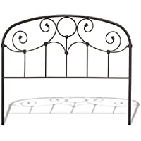 Grafton Metal Headboard with Scrollwork Design and Decorative Castings, Rusty Gold Finish, California King
