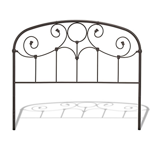 Grafton Metal Headboard with Scrollwork Design and Decorative Castings, Rusty Gold Finish, King - Fashion Bed Metal Headboard