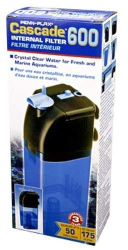 (Penn Plax Cascade 600 Submersible Aquarium Filter Cleans Up to 50 Gallon Fish Tank with Physical, Chemical, and Biological Filtration)