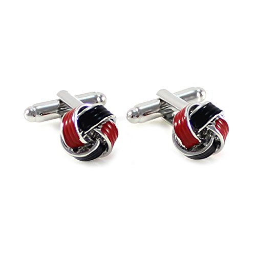 Red Plated Cufflinks - MENDEPOT Classic Rhodium Plated Knot Cufflinks With Box Color Knot Cufflinks In Box (Red/Black)
