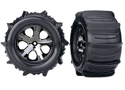 Traxxas 3689 Stampede Paddle Tires and Wheels Pre-Glued and Mounted (Pair) (Tires Stampede Traxxas)