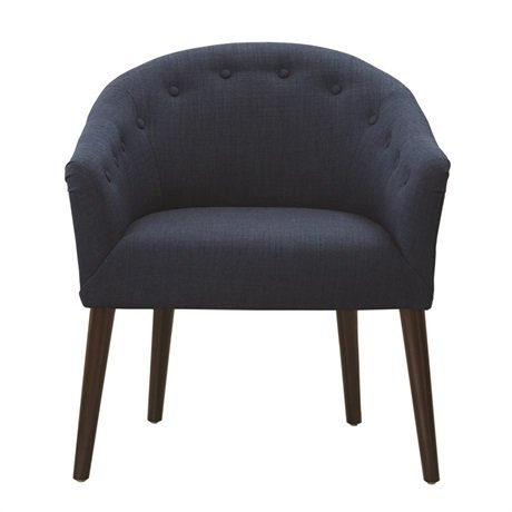 Navy Accent Chair with Tapered Legs and Buttoned Back