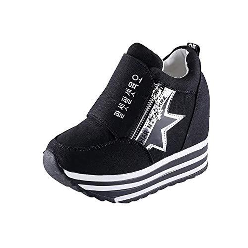 De En Avec Pour Glissire Alikeey Sport Haut Casual Chaussures Noir Femmes Toile Fermeture vxvTzOw
