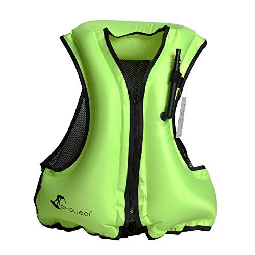 (OMOUBOI Adult Portable Inflatable Floatable Vest Swim vest, Life Jackets, Life Vest, Snorkel Vest, Snorkeling, Fishing Vest, Swimming,Drifting,Surfing, Diving, Boating, Kayaking, Canyoning (green))