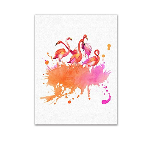 ink2055 Fashion Modern Flamingo Frameless Painting Home Living Room Wall Art Decoration