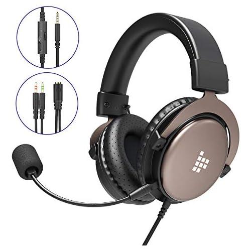 chollos oferta descuentos barato Tronsmart Auriculares profesionales para juegos de 3 5 mm con micrófono de sonido estéreo con cancelación de ruido bajos intensivos para computadora ordenador portátil Mac PS4 Xbox One y PC