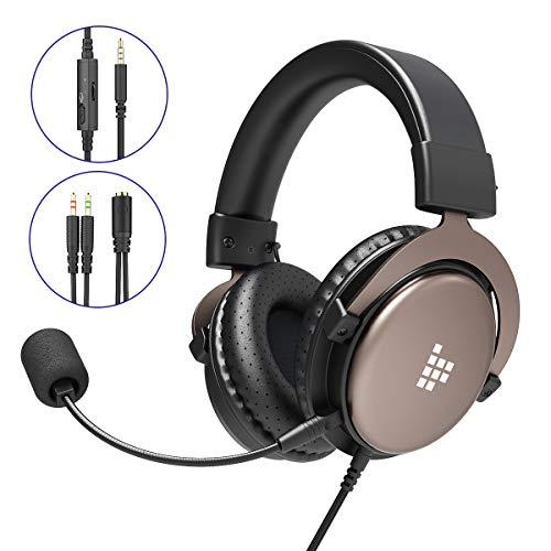 Tronsmart SONO Auriculares Gaming PS4 Estereo con Microfono Plegable para PC PSP Xbox One,Cascos Gaming controlador de 50MM,Sonido Envolvente,Control de Volumen,Cancelacion de Ruido, Diadema Acolchada