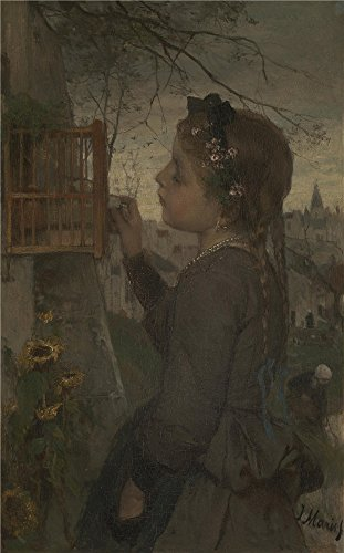 Oil Painting 'Jacob Maris A Girl Feeding A Bird In A Cage' 12 x 19 inch / 30 x 49 cm , on High Definition HD canvas prints is for - Coupon Sunglasses Cod