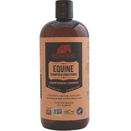 WARHORSE Solutions Natural Equine Shampoo and Conditioner - Lemon Verbena & Lavender Horse Shampoo with Coat, Mane and Tail Conditioning, 32 ounce