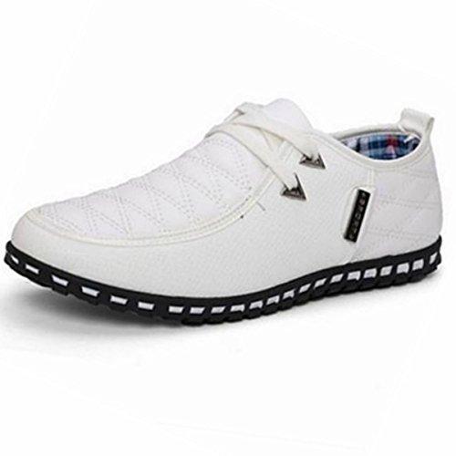Pinuo Herenmode Pu Sneaker Casual Veterschoenen Ademend Mesh Casual Schoenen Wit