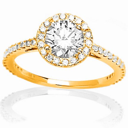 2.4 Carat 14K Yellow Gold Classic Yet Unique Halo Style Pave Set Diamond Engagement Ring with a 2 Carat Moissanite Center