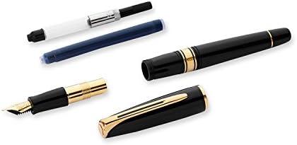 Waterman Charleston pluma estilográfica de color negro con adornos dorados, con estuche: Amazon.es: Oficina y papelería