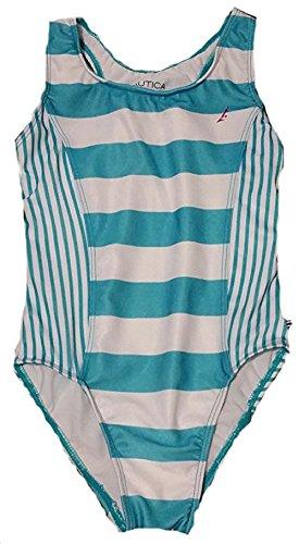 Nautica Little Girls' One Piece Swimsuit-Turquoise- 6 Kids
