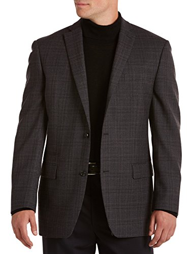 - Michael Kors Big and Tall Plaid Wool Sport Coat (46 XLong, Charcoal)