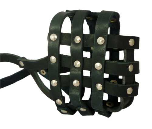 (Real Leather Dog Basket Muzzle #107 Black - Pit Bull, AmStaff (Circumference 12