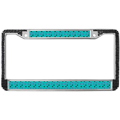 (GND Rhinestone Car License Plate Frame,Color Dog Paws Bling License Plate Frame for Woman Black Dog Paw Prints Glitter Rhinestones Black License Plate Frame)