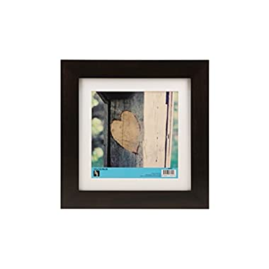 BorderTrends Timber 10x10/8x8-Inch Square Solid Wood Photo Frame, Brown with White Mat
