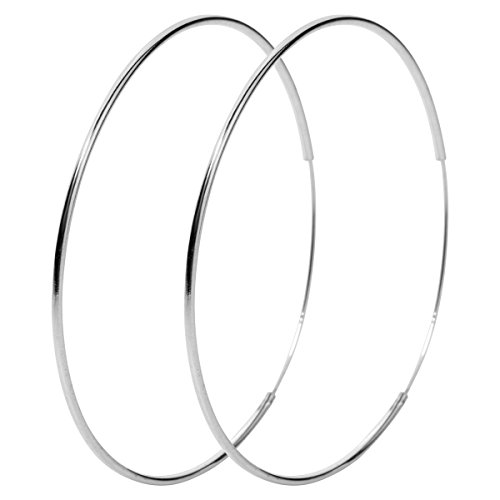 YACQ 925 Sterling Silver Round Hoop Earrings For Women Teen Girl (smooth) (Earrings Band Round)