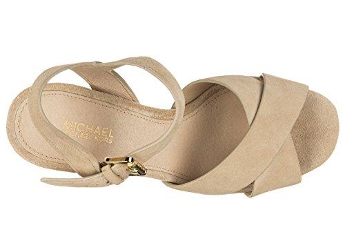 Michael Kors sandalias de tacón mujer en ante nuevo divia beige
