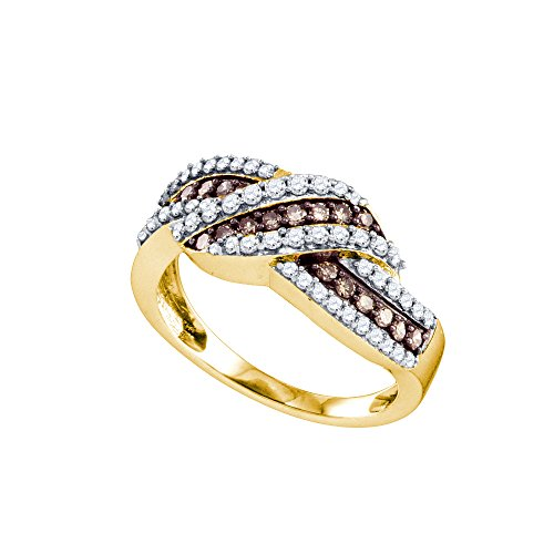 10k Yellow Gold Brandy Diamond Chocolate Brown Luxurious Crossover Fine Band Ring 3/4 Ctw. by Brandy Diamond
