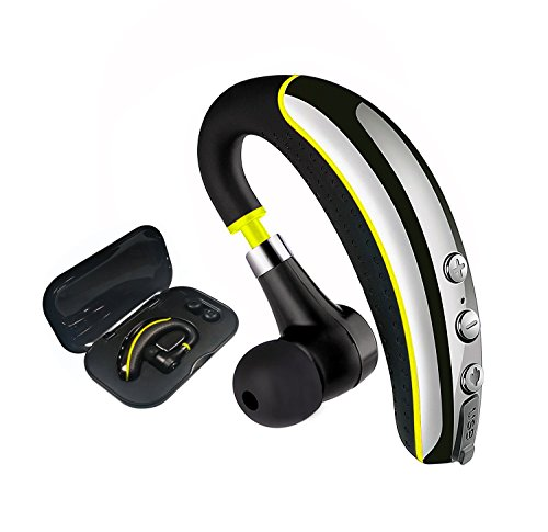 New Wireless Headset (【NEW】Bluetooth Headset V4.1,MLevis Wireless Business Earpiece Trucker In-Ear Earbuds Headphones with Noise Reduction Mute Switch,Hands Free w/Mic for Office/Business/Workout/Driver/Trucker-Yellow)
