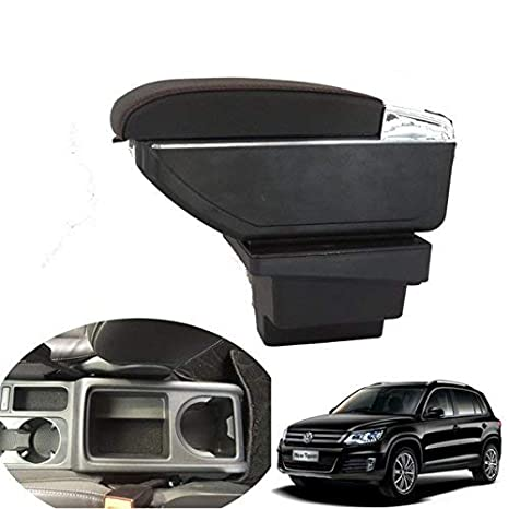 AutoSunShine vano portaoggetti con bracciolo in pelle da montare alla console centrale dell/'auto