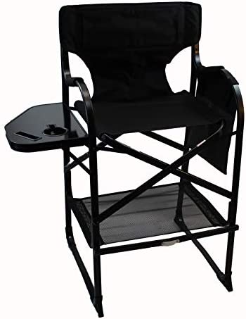 World Outdoor Products Professional Edition Tall Directors Chair, Side Table, Drink, Cell Phone, Document Holder, Removeable Logo Patches, Storage Net.