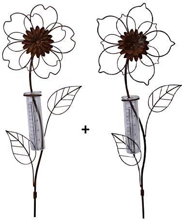 ARTECSIS - Pluviómetro para jardín (Metal), diseño de Flores, pájaros y Girasol: Amazon.es: Jardín