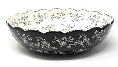 (Temp-tations 5 Qt Serving Bowl, Scalloped Edge (Floral Lace Black))