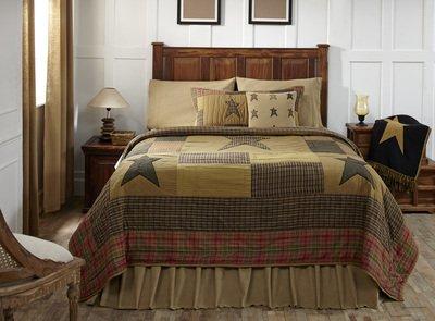 VHC Brands Primitive Bedding Sutton Cotton Pre-Washed Appliqued Star King Quilt, Dark Khaki Tan (Primitive Country Comforter Set)