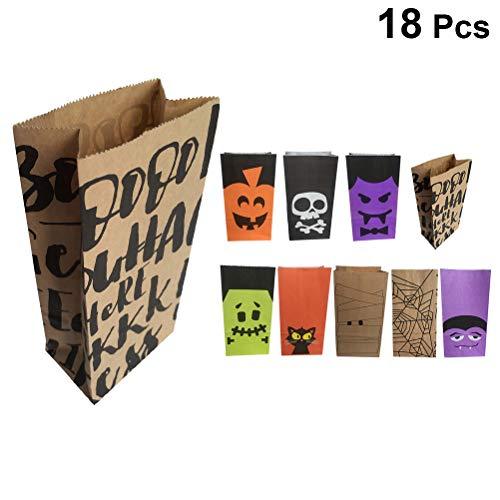 Amosfun 18pcs Halloween Candy Bags Cartoon Paper Gift Bags for Kids Bags Halloween Party Supplies(Random -