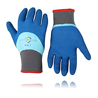 Golden Scute 6 Pairs Waterproof Freezer Winter Work Gloves Fleece-Lined with Tight Grip Palms Cold Temperature Work Gloves (Extra Large)