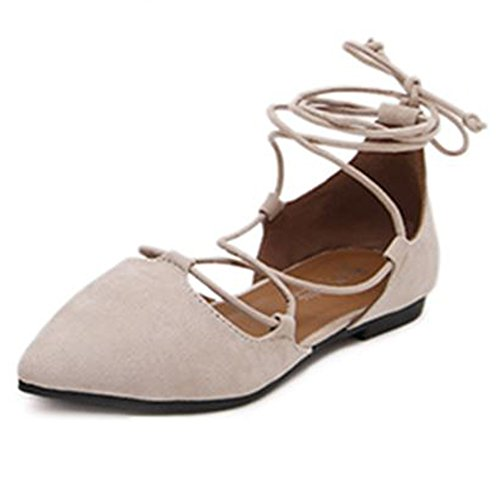 Minetom Women Spring Summer Autumn Fashion Casual Solid Color Lace Up Shoes Comfortable Pointed Closed Toe Dance Ballet Flats Loafers apricot uRNLabpMHH