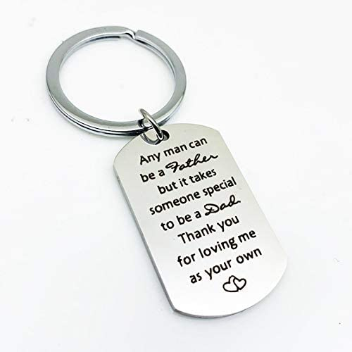 Christmas Gifts for Step Dad Keychain Fathers Day Birthday Gifts for Stepdad Thank You for Loving Me As Your Own Wedding Gifts for Father in Law Gifts from Step Daughter Son