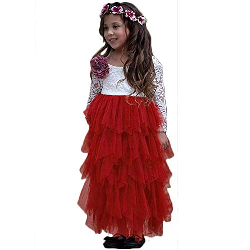 NNJXD Girl Lace Back Tutu Tulle Flower Girls Princess Party Dress Size (110) 5-6 Years Red