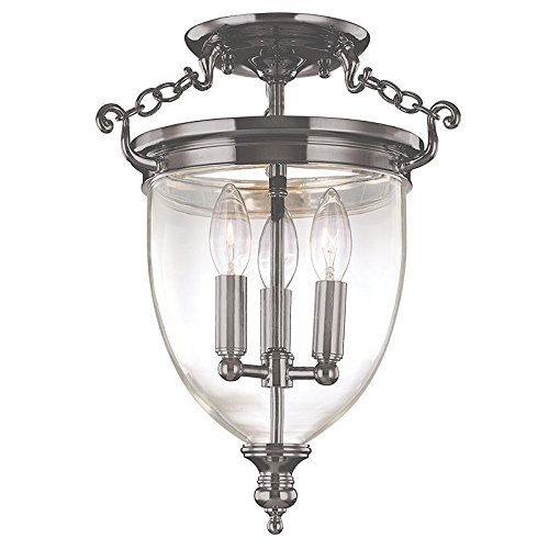Hudson Valley Lighting Hanover 3-Light Semi Flush - Historic Nickel Finish with Clear Glass Shade by Hudson Valley Lighting