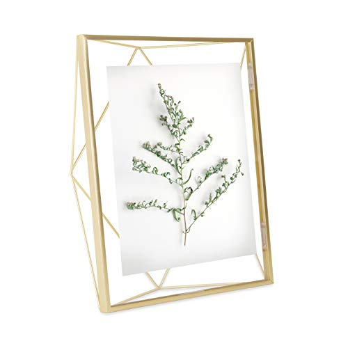 Umbra Prisma Picture Frame, 8x10 Photo Display for Desk or Wall, Brass -