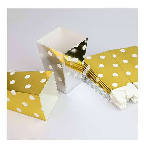 YouMeBest Mini Popcorn & Candy Favor Boxes For Birthday Foil Gold Silver Polka Paper Popcorn Boxes for Child's, Dot 24PCS