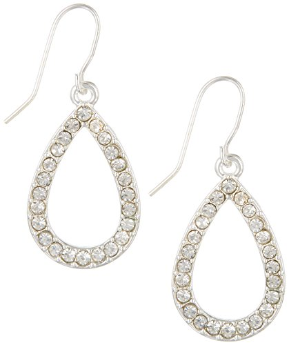 Rhinestone Chaps (Chaps Rhinestone Teardrop Dangle Earrings One Size Silver tone)