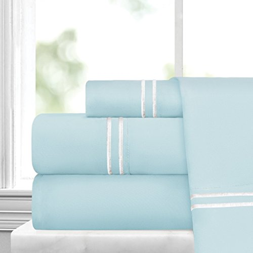 Egyptian Luxury Embroidered Bed Sheet Set – Ultra Soft Premium 1500 Series w/Beautiful Stripe Embroidery – Wrinkle & Fade Resistant, Hypoallergenic 4 Piece Set - Queen - Aqua/White Aqua Sheet Set