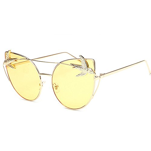 mujeres de retro sol metálica sol unisex Gafas clásicas de sol montura grandes Ojos sol aves gato con Decoración de de montura para de gafas Hombres de Gafas Amarillo d personalidad Gafas de con Gafas Retro la UfPqp8x