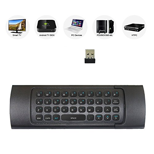 Rii MX3 Multifunction 2.4G Fly Mouse Mini Wireless Keyboard & Infrared Remote Control & 3-Gyro + 3-Gsensor for Google Android TV/Box, IPTV, HTPC, Windows, MAC OS, PS3 by Rii (Image #1)