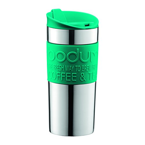 Bodum 11068-159B Travel Mug, 0.35 L/12 oz, Turquoise Bodum Stainless Steel Travel Mug