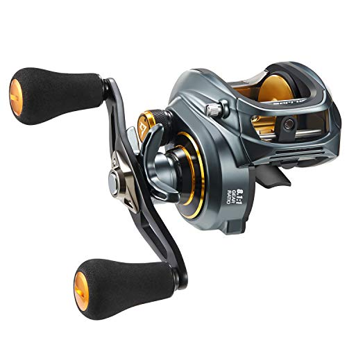 Piscifun Alijos Size 300 Baitcasting Reels Aluminum Frame Baitcaster Low Profile Baitcast Fishing Reels, 33lb Drag 5.9 1 8.1 1 Gear Ratio Freshwater Saltwater Double Handle Casting Reels