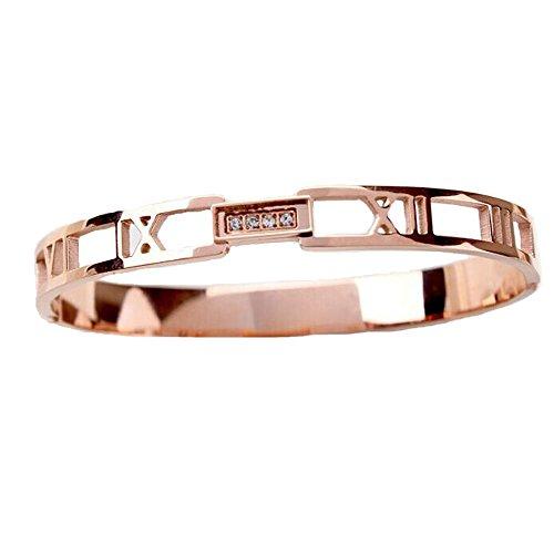 (Baoliren Rose Gold Plated Titanium Roman Numeral Women's Bracelet )