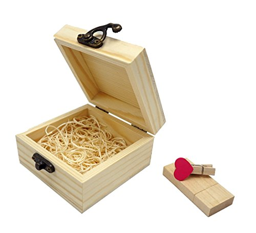 LONMAX Gift Wooden USB 2.0 Flash Drive Memroy Stick Disk with Box 16GB (Custom Usb Flash Drive)