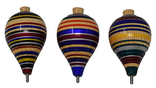 3 Pack Mexican Wooden Spinning Tops Premium Quality Trompos de Madera ( Made in Mexico , Assorted Colors ) ()