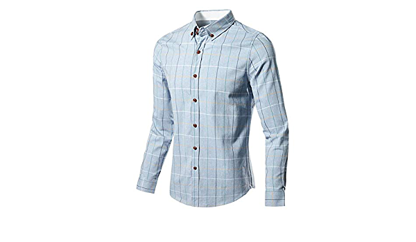 Camisa Casual para Hombre Manga Larga A Cuadros Ropa Formal ...