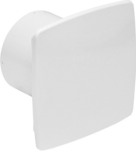 Design Badventilator hochglanz weiß Ø 100 mm mit Timer / Nachlauf und Rückstauklappe WNB100T Lüfter Ventilator Front Wandlüfter Badlüfter Ventilator Einbaulüfter Bad Küche leise 10 cm MKK