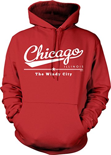 NOFO Clothing Co Chicago, Illinois, The Windy City Hooded Sweatshirt, XL Red -